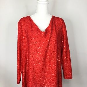Tops - Sequined cowl neck sweater